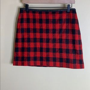 Madewell red/black plaid mini skirt